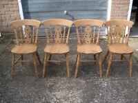 Set of four 'proper' farmhouse solid wooden chairs