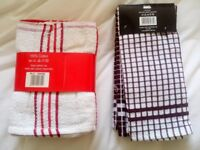 BRAND NEW WITH TAGS 6 x TEA TOWELS COTTON