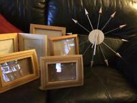 Clock and pine photo frames