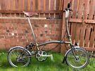 Brompton Custom H6L Bike, Raw lacquer, Shimano Hub Dynamo Lights (front and back), Brooks B17 Saddle