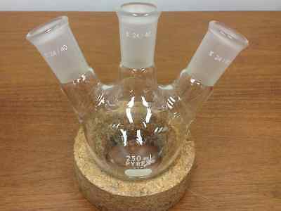 Pyrex - Catalog 4965 Boiling Flask Round Bottom 3-angled Necks 250ml