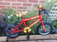 boys 14 inch wheel red and yellow bat 21 combat bike with stabilizers