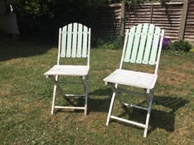 2 shabby chic wooden folding chairs