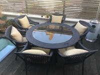 6 seat round outdoor patio table set