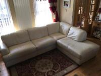 FAB LEATHER sofa suite settee chair living dining cream corner recliner