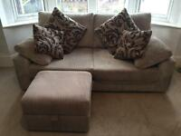 DFS 3 Seater Sofa & Storage Footstool **OFFERS WELCOME**