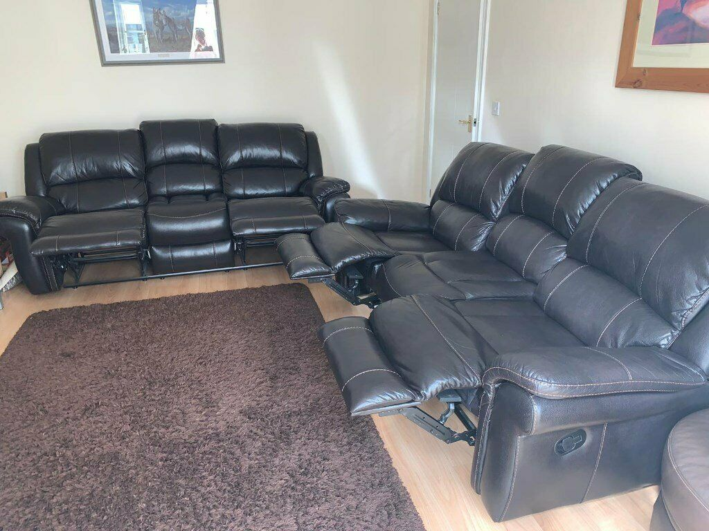 2 x 3 seater reclining sofas brown leather | in Ammanford, Carmarthenshire | Gumtree
