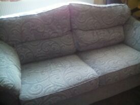 3 seater settee and chair chenille fabric ex cond