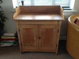 Antique pine cupboard, side unit.