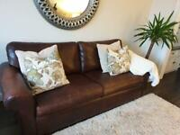 Real Leather Brown Sofa 2seater + 3 seater Great condition