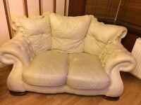 Luxury Cream leather two seater sofa