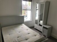 Lovely Double bed, mattress, nearly new wardrobe & bedside table!!