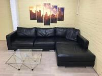 Luxury Large Black Leather Corner Sofa