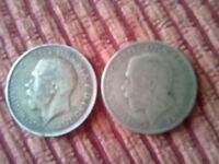 KING GEORGE IV SILVER ONE FLORIN COINS x 2