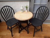 Cute Chic Small Bistro/Cafe Table and Dining Chairs. Choice of solid oak tops. Annie Sloan £90