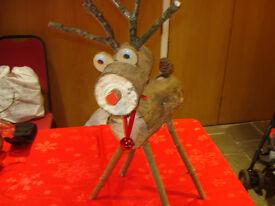 Beautiful Handmade Large Reindeer & Snowmen