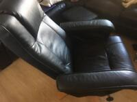 BLACK CHAIR AND FOOTSTOOL