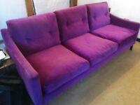 Large 3 seater Purple Velvet Sofa in exellent condition