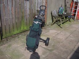 Wilson 1200 Gear Effect Golf Clubs and Hippo Trolley with Extras