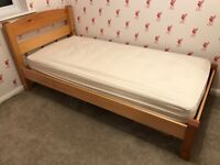 Single bed, Warren Evans wooden frame incl. John Lewis pocket sprung mattress. £65 ONO