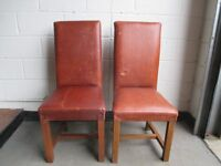 PAIR OF LARGE LEATHER UPHOLSTERED HIGH BACK DINING CHAIRS FREE DELIVERY