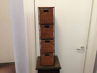 Small wicker storage unit