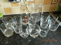12 Tumblers and 2 jugs