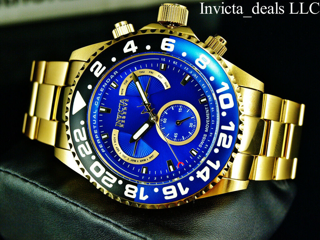 Invicta Men Reserve GRAND DIVER SWISS ETA Chrono MASTER CALENDAR Gold Tone Watch