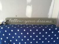 Next Follow Your Dreams wooden wall sign plaque BNWT
