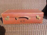 Vintage Brown suitcase. Monogrammed E.T.