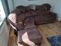 Sofa with recliner and foot stool