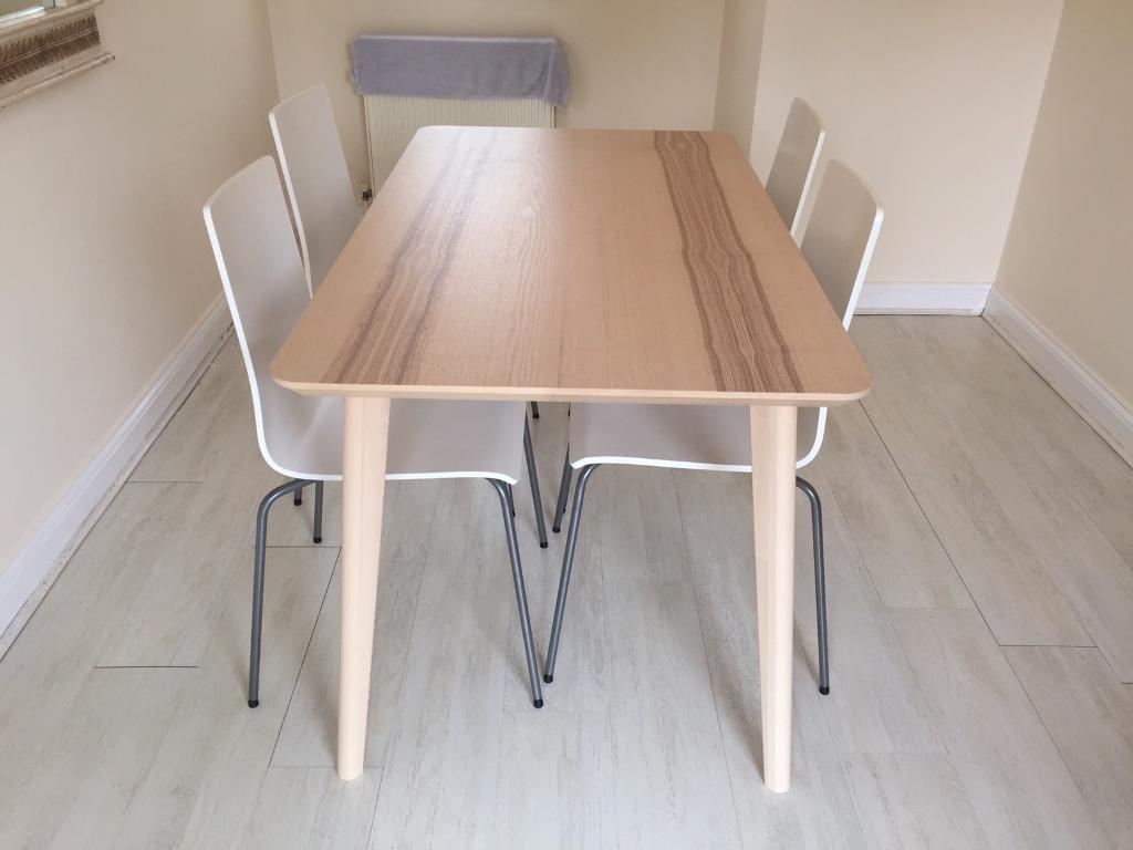 ikea l sabo dining table 4 ikea martin chair in enfield london gumtree. Black Bedroom Furniture Sets. Home Design Ideas