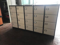 4 Draw Beige and Brown Filing Cabinet - Metal