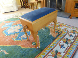 Piano stool, music storage seat,, adjustable height, by Woodhouse Ltd. W. Sussex