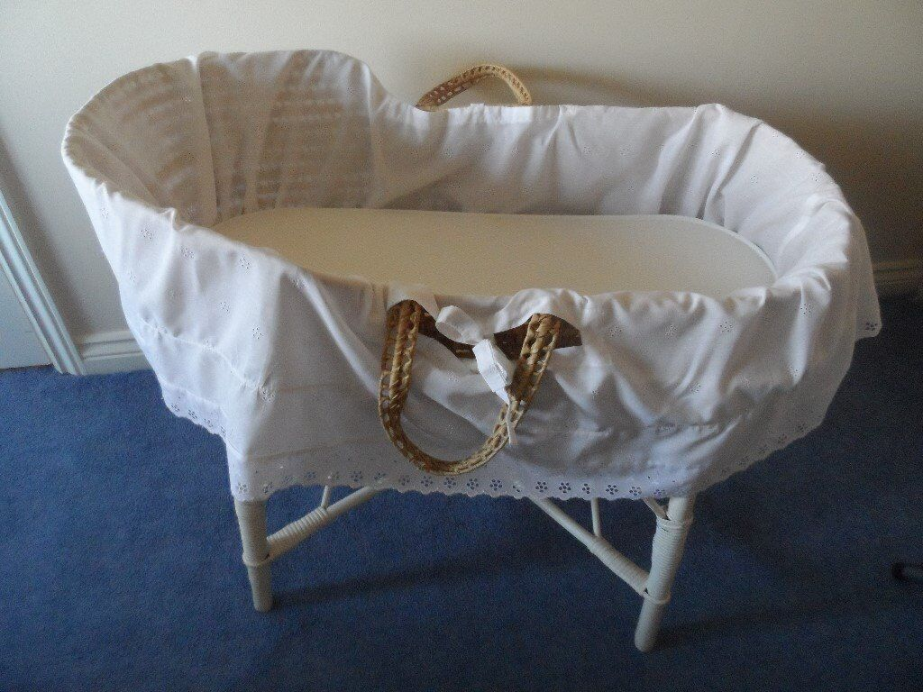 Baby cribs moses baskets - Baby Crib Moses Basket On Stand With Embroidery Anglaise Cover