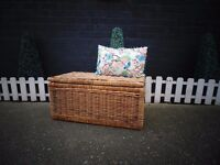 LARGE AND DEEP WICKER BLANKET/STORAGE BOX LOADS OF STORAGE IN EXCELLENT CONDITION 75/46/37 cm £30