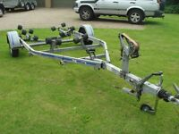 ROLLER COASTER BOAT TRAILER SWING ROLLER AXLE FULLY ROLLERED 860 KG Rated 16 ft With 5 ft Board ext.
