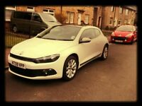 WHITE VOLSWAGEN SCIROCCO FOR SALE - with panaromic sunroof in good condition