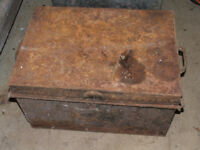 vintage tin chest, trunk with various old tools