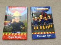 2 x Fireman Sam hardback books - Dinosaur Hunt & Plane Crazy