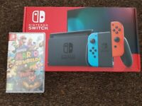 Brand new nintendo switch console with game