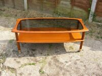 Vintage Retro Mid Century G Plan Coffee Table with Glass Top & Caster Wheels