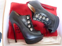 Christian LOUBOUTIN Black Ronfifi 140mm Heels Platform Shoes Boots Boxed Size 37.5 UK 4.5