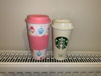 Reusable coffee tea cups:(1) pink with cupcakes (2) Starbucks