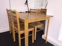 Solid pine wood dining table with 4 chairs