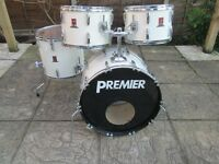 Drums - Premier Drum Kit - Almost Brand New Remo Pinstripe Heads