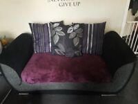 *reduced* Black 2 seater fabric sofa settee silver grey trim with purple accent cushions very comfy