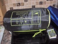 Tesco 250gsm Rectangular Single Sleeping Bag - Black/green bnwt.