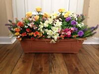 troughs with artificial flowers for sale