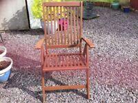 Wooden garden chair. Multi position